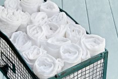 organizing rolled towels